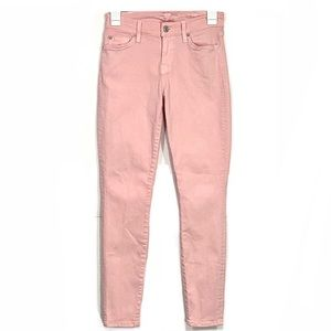 7 for All Mankind Pink Curvy Ankle Skinny Jeans